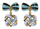 Blue Bow Motifs Earrings