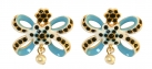 Blue Bow Small Stud Earrings