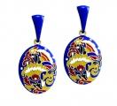 Blue Enamel Floral Earrings