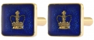 Blue Enamelled Crown Cufflinks