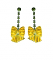 Bow Yellow Enamel and Crystal Earrings