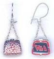 Chatelaine Bag Earrings Silver