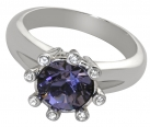 Eight-Star Tanzanite Crystal Ring