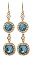 English Blue Crystal Earrings