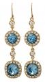 English Blue Crystal Earrings