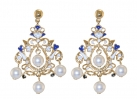 Floral Pearl Enamel Chandelier Earrings