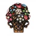 Giardinetti flower basket brooch bronze finish