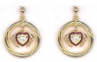 Gold-plated Silver lovers' gimmel ring Earrings