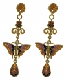 Gold-plated butterfly earrings