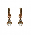 Hooped Earrings with Cream Faux Pearl