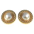 Large Faux Pearl & Gold Earrings