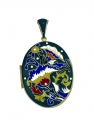 Large Green Enamel Floral Locket Pendant