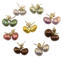 Large Pearl Multi Coloured Irregular Shape Earrings