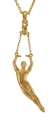 Male Ballet Dancer, in 5th pas de poisson, Pendant - Gold plated