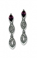 Marquise Cut Amethyst Crystal Earrings