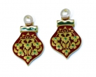 Mughal-inspired reversible red and green earrings