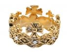 Prince of Wales 1911 Crown Ring - Brass with CZ