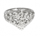 Princess Tiara Collection Ring 2 - Sterling Silver with Diamonds or CZ