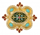 Pugin Enamel and Pearl Brooch