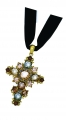 Rose-Cut Jewelled Cross Pendant Gold-Plated
