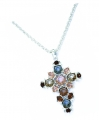 Rose-Cut Jewelled Cross Pendant Silver-plated