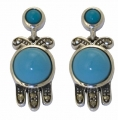 Silver Art Deco Turquoise Earrings