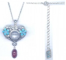 Silver Heart & Flower Pendant