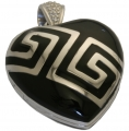 Silver Heart Locket Black Enamel