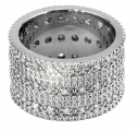 Triple Band George IV Diadem Ring Double Row - Rhodium