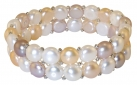 Two Row Multi-Coloured Pearl and Silver Bracelet