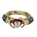 V&A Lovers' gimmel ring - sterling silver gold-plated