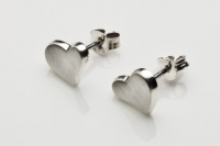 Concave brushed heart earrings