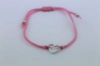 Cord and silver heart bracelet