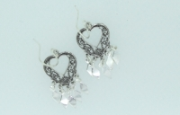 Filigree heart with diamond drops