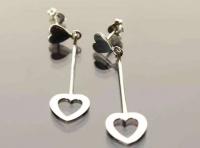 Heart stud and long drop earrings