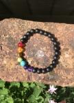 Chakra Semi-precious Stone Onyx Rainbow Bracelet
