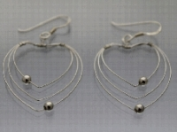 Wire heart and bead earrings