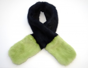 Navy / Green Contrast Scarf