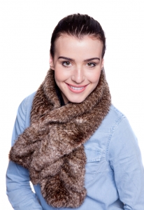 Oyster Brown Ruffle Scarf
