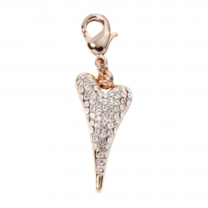 1013- Miss Dee rose gold plated heart shaped charm with a full Czech crystal face