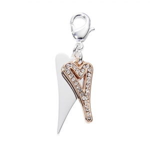 1016- Miss Dee rose gold hollow diamante heart sat on top of a solid silver heart charm