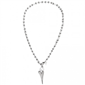 1693292-Miss Dee 1micron Sterling Silver Heart Long Knot Chain Necklace