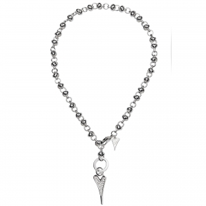 1693392-Miss Dee 1micron Sterling Silver Crystal Heart Knot Chain Necklace