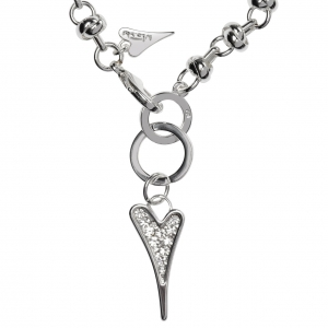 1693492-Miss Dee 1micron Sterling Silver Crystal Heart Knot Chain Bracelet