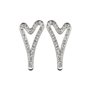 1800499 - Miss Dee 1 Micron silver plated hollow heart and diamante face stud earrings