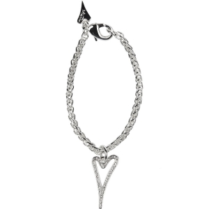 1800500 - Miss Dee 1 micron silver plated bracelet with hollow heart and diamante face pendant