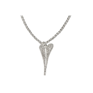 1800511 - Miss Dee 1 Micron Silver plated long 70cm necklace with a full diamante face heart pendant