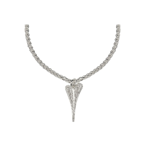 1800512 - Miss Dee 1 Micron Silver plated necklace with a full diamante face heart pendant