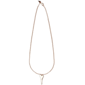 1800524 - Miss Dee 14crt Rosegold plated long 70cm necklace with solid heart & 2 diamante row edge pendant