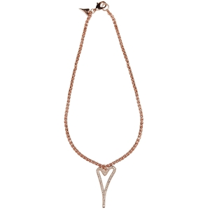 1800527 - Miss Dee 14crt Rosegold Plated Long 70cm necklace with hollow heart & diamante pendant